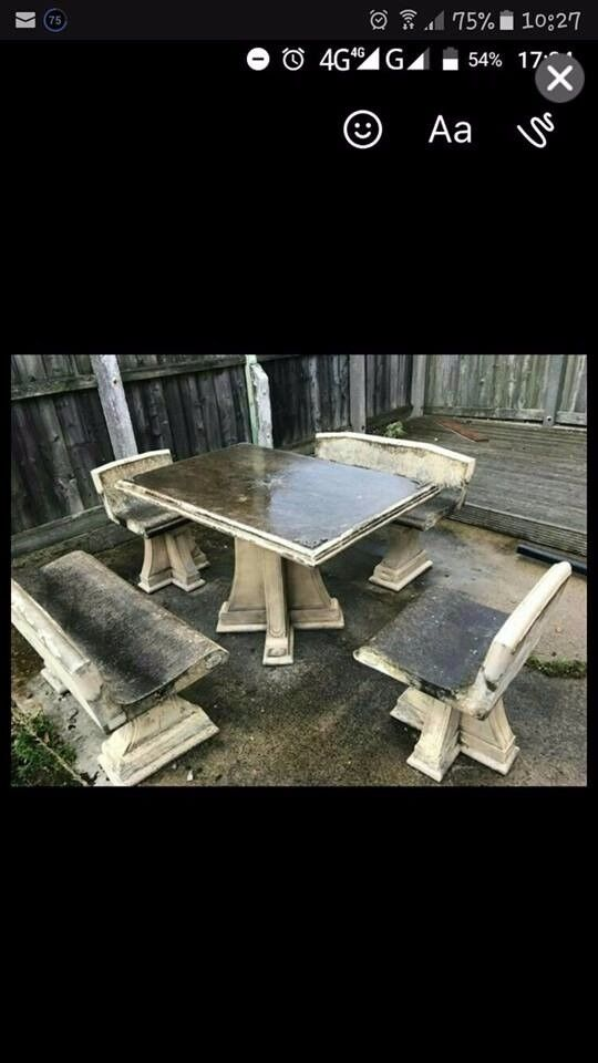 solid stone garden furniture / patio furniture / outdoor furniture / decking area / garden salvage