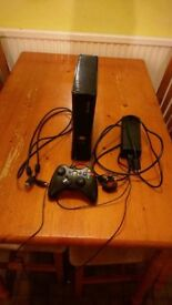 xbox 320gb 360 console, power cable hdmi charger for controller and controller.