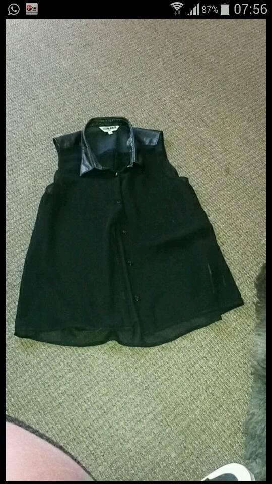 Pvc leather seethrough top shirt blouse uk 14