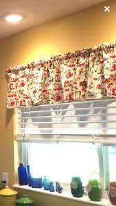Vintage Retro Kitchen  Curtain Valance Window Topper Cotton fabric 43