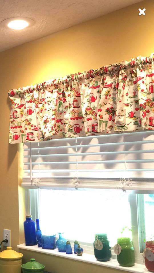 Red Olive Retro Kitchen Curtain Valance Window Topper Cotton