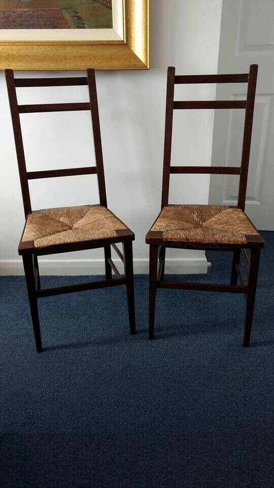 Pair of Antique Arts and Crafts / Glasgow Style Chairs with Rush Seats.