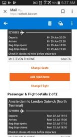 EasyJet Return Gatwick to Amsterdam 29/6/18 Return 2/7/18