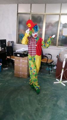 Halloween Happy Clown Mascot Costume Cosplay Adult Fancy Dress Outfit Party Suit