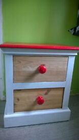 Shabby chic project - solid pine bedside chest of drawers / cupboard