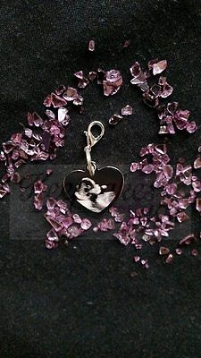 Custom made Photo Engraved Stainless Steel Heart Charm & Clasp attachment