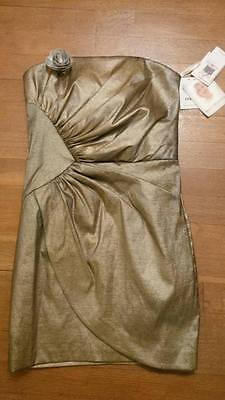 Stunning Designer fitted Jessica McClintock dress, NEW, SIZE 10 Gold