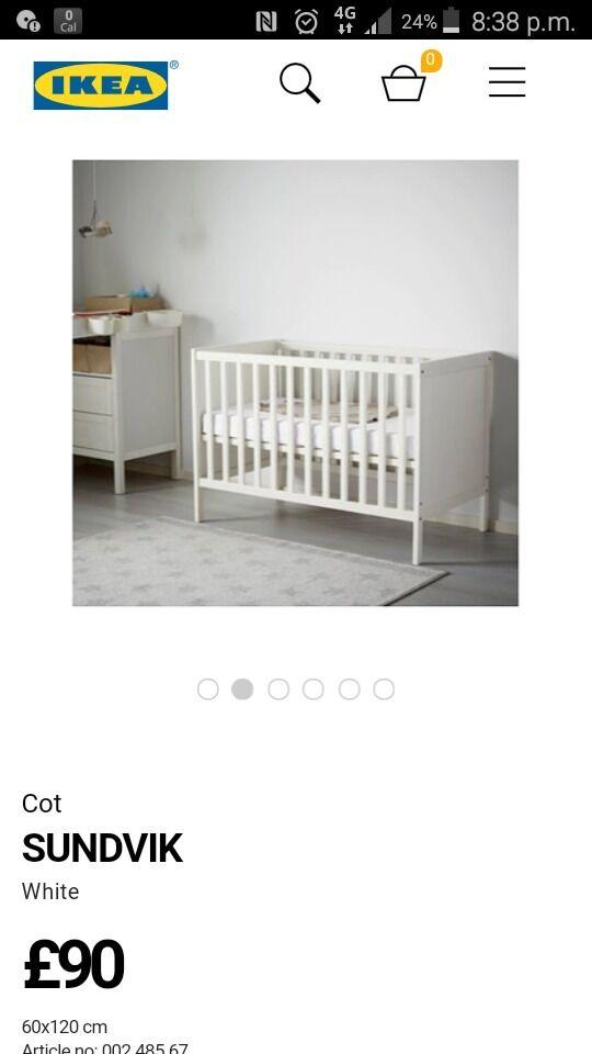 White Ikea Sundvik Cot