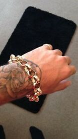 Gold Bonded Belcher Bracelet Mens Solid Gold Filled Plated Bracelet