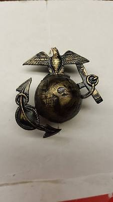 """WWI Reproduction 1916 style #2 USMC Eagle, Globe and Anchor """"SALTY"""" Hat Insignia"""