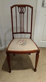 Elegant Antique Chair with Tapestry Seat