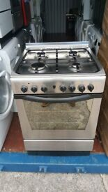 60cm Stainless Steel 'Indesit' Dual Fuel Cooker - Excellent Condition / Free local delivery