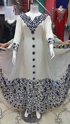 MOROCCAN WHITE DUBAI KAFTANS ABAYA DRESS VERY FANCY LONG GOWN FARASHA MS 1991 - Fancy White Dress