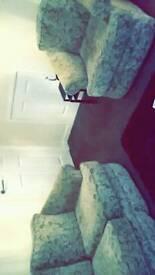 Teal patterned sofas