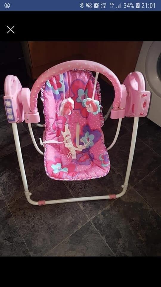 Girls Pink Baby Swing
