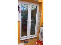 white uvpc french doors