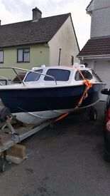 Mariners 16' fishing boat on rolling galvanised trailer with 30 hp Suzuki engine recently serviced