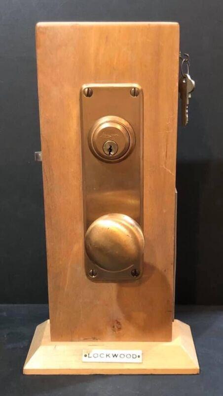 Vintage Lockwood Door Lock System Store Display Salesman Sample W/ Original Key