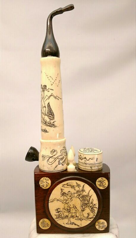 ANTIQUE CHINESE ASIAN EBONY WOOD & BONE OPIUM POPPY TOBACCO PIPE HAND ENGRAVED