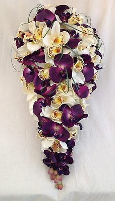 BRIDES TEARDROP BOUQUET, PURPLE AND CREAM ORCHIDS, ARTIFICIAL WEDDING FLOWERS