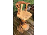 Bar Stool ( High ) Wood Log Bark Hand Crafted