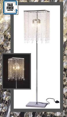 Crystal Floor Lamp Light Shape Raindrop Silver Modern Vintage Classic New Free Chrome Modern Floor Lamp