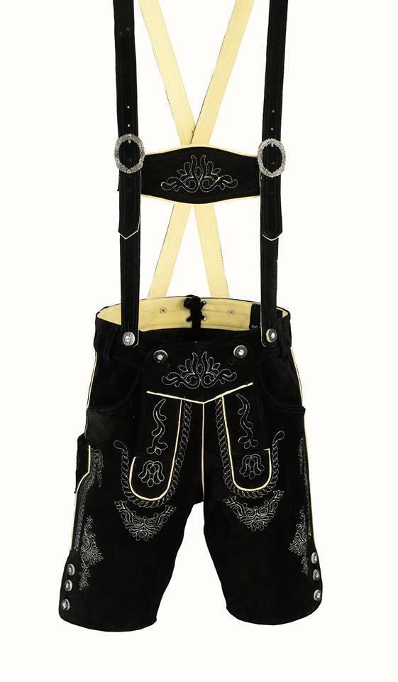 German Bavarian Lederhosen Men Suede Leather Black 1002
