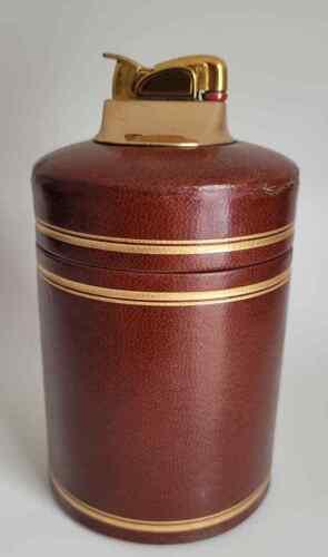 Mid Century Vtg Evans Leather Wrapped Desk Lighter Cigarette Box Holder Combo