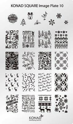 Konad Stamping Nail Art Square Image 10 Christmas & New Year plate, used for sale  Shipping to India