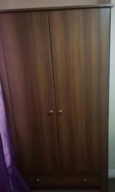 Chestnut wardrobe, chest of drawers & bedside cabinet,excellent condition