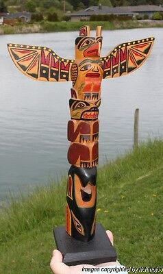 FINE LARGE OLD NORTHWEST COAST KWAKIUTL INDIAN CEDAR TOTEM POLE c1940 on Rummage