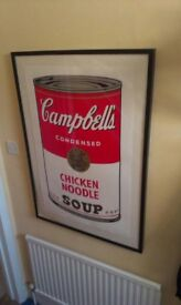 Warhol Campbell's Chicken Noodle Soup Lithograph with Frame
