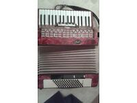 72 Bass Galotta Bell Accordion (Weltmeister) Red 5 Treble Voice 3 Bass Voice