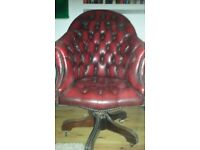 Red Leather Chesterfield Captains Chair - Beautiful piece of furniture