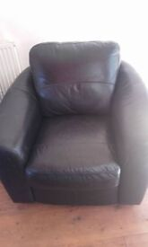 Black Leather Look Armchair