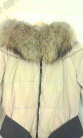 Ladies Down feather padded parket with Racoon feather high collar.
