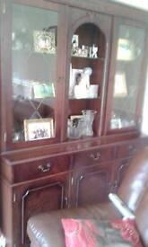 Mahogany coloured display cabinet / sideboard