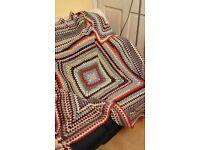 Vintage crochet blanket, large, double, king-size bed or sofa