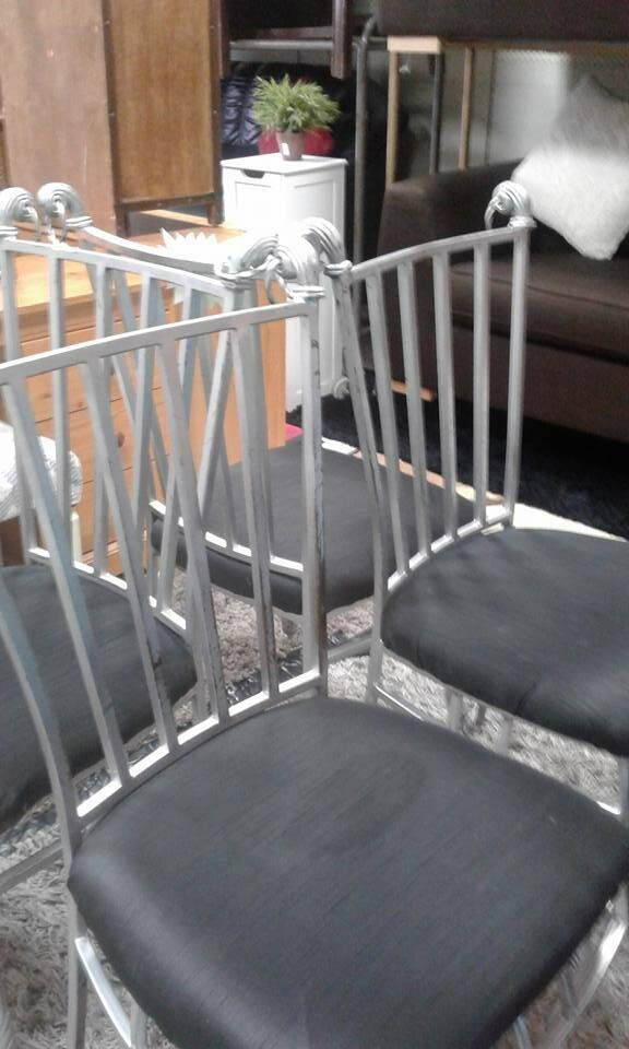 BLACK SILVER DINING CHAIRS X 4