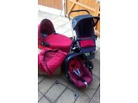Quinny Buzz Pram with Pebble Car Seat and Dreami Carry Cot, Foot Muff, Fleece Blanket and Pram Bag