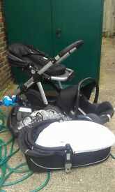 iCandy buggy, maxi-cosi isofix car seat and carry cot (all compatible)