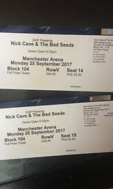 2 Tickets to Nick Cave and The Bad Seed concert on 25 of September 2017 in Manchester