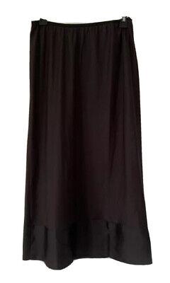 Halogen Womens A Line Skirt Black Midi Lined Trim Elastic Waist Career M New