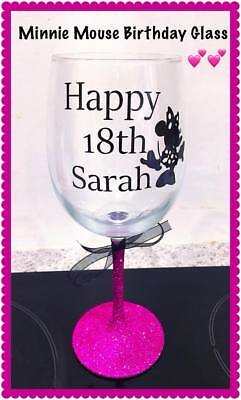 Personalised Glitter Wine Glass Minnie Mouse Disney Birthday Present Gift