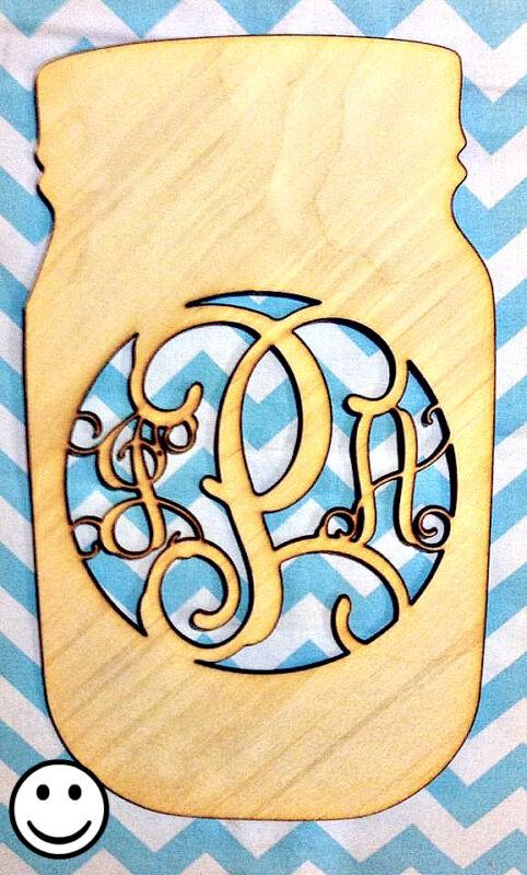 "18"" Wooden Vine Font Mason Jar Monogram Unfinished wood letters Decor Custom"