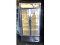 True GDM-35 STAINLESS STEEL Commercial Glass Double Door Display Fridge / Drink Fridge -900 Litre