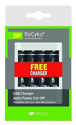 4 GP RECYKO PRO RECHARGEABLE AA BATTERIES 2000mAh + FREE USB CHARGER