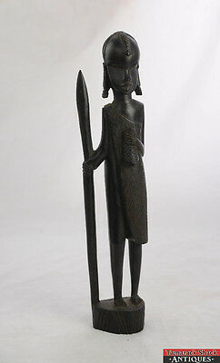 1960's Wooden Carved Tanzania East African Women Holding Spear And Bag 14 1/2""