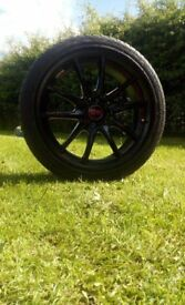 """17"""" wolfrace jante ultra lite racing alloy wheels with tyres 4x100/4x108"""
