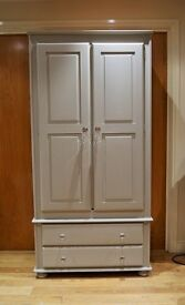Rustic Pine Wardrobe with 2 Drawers